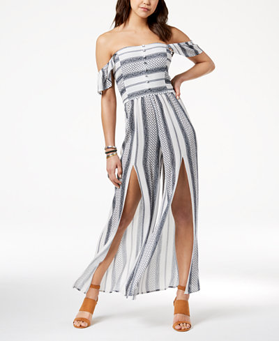 American Rag Juniors' Off-The-Shoulder Jumpsuit, Created for Macy's