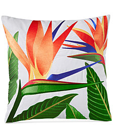 "Charter Club Damask Designs Birds of Paradise Embroidered 18"" Square Decorative Pillow, Created for Macy's"