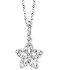 "EFFY Kidz® Children's Diamond Star Flower 14"" Pendant Necklace (1/6 ct. t.w.) in 14k White Gold"