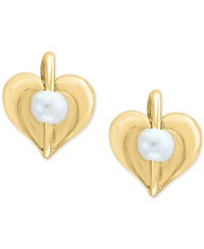 EFFY Kidz® Cultured Freshwater Pearl (3mm) Heart Stud Earrings in 14k Gold