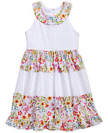 Sweet Heart Rose Floral-Print Lace & Eyelet Dress, Toddler Girls