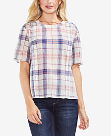 Vince Camuto Textured Plaid Top
