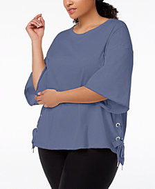 Calvin Klein Performance Plus Size Relaxed Bell-Sleeve Side-Tie Top