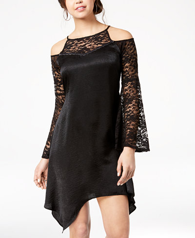 The Edit By Seventeen Juniors' Lace-Trimmed Cold-Shoulder Dress, Created for Macy's