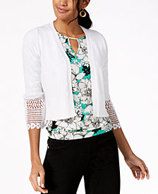 Thalia Sodi Cropped Crochet-Trim Cardigan, Created for Macy's