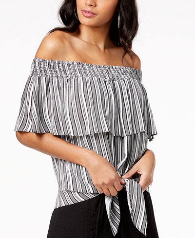 Thalia Sodi Striped Gauze Tie-Front Off-The-Shoulder Top, Created for Macy's