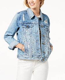 Tinseltown Juniors' Embellished Ripped Denim Jacket