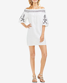 Vince Camuto Off-The-Shoulder Embroidered Linen Dress