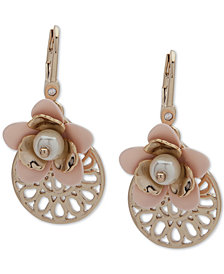 Ivanka Trump Gold-Tone Imitation Pearl & Flower Drop Earrings