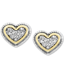 EFFY Kidz® Children's Diamond Accent Heart Stud Earrings in Sterling Silver & 18k Gold