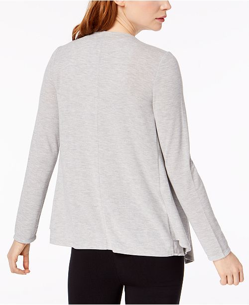 Macy's Draped Bar III for Medium Created Contrast Heather Grey Cardigan FnPwYqO