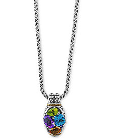 "EFFY® Multi-Gemstone 18"" Pendant Necklace (1/3 ct. t.w.) in Sterling Silver & 18k Gold"
