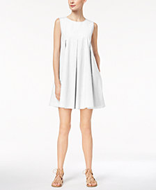 Marella Cotton Stretch Poplin Pleated A-Line Dress