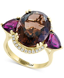 EFFY® Multi-Gemstone (12 ct. t.w.) & Diamond (1/6 ct. t.w.) Ring in 14k Gold