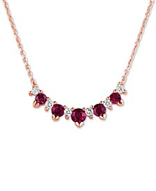 "Certified Ruby (3/4 ct. t.w.) & Diamond (1/5 ct. t.w.) 17"" Collar Necklace in 14k Rose Gold"