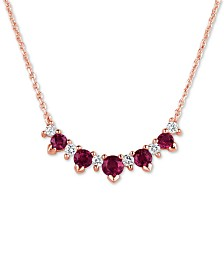 """Certified Ruby (3/4 ct. t.w.) & Diamond (1/5 ct. t.w.) 17"""" Collar Necklace in 14k Rose Gold"""