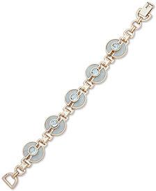 DKNY Gold-Tone Cubic Zirconia & Stone Link Bracelet, Created for Macy's