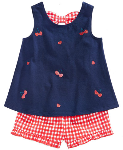 First Impressions Graphic-Print Tank Top & Checked Shorts Separates, Baby Girls, Created for Macy's