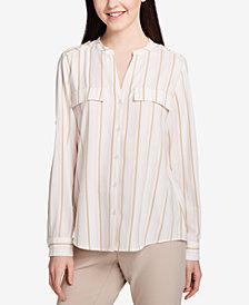 Calvin Klein Striped Faux-Pocket Blouse
