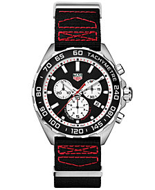 TAG Heuer Men's Swiss Chronograph Formula 1 Black Fabric Strap Watch 43mm
