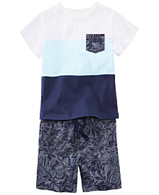 First Impressions Pocket T-Shirt & Shorts Separates, Baby Boys, Created for Macy's