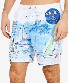 "Nautica Men's Painted Seascape Quick-Dry  8"" Swim Trunks"