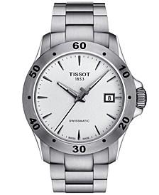 Men's Swiss Automatic T-Sport V8 Swissmatic Gray Stainless Steel Bracelet Watch 42.5mm