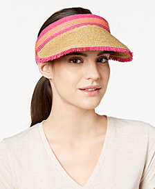 August Hats Colorblocked Straw Visor