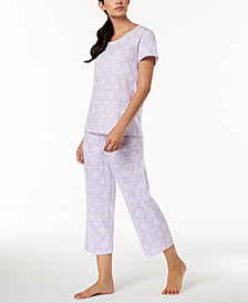 Charter Club Contrast-Print Cotton Pajama Set, Created for Macy's