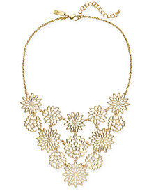 "I.N.C. Gold-Tone Flower Statement Necklace, 18"" + 3"" extender, Created for Macy's"