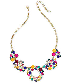"I.N.C. Gold-Tone Flower Motif Statement Necklace, 18"" + 3"" extender, Created for Macy's"