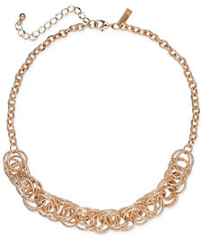 """I.N.C. Rose Gold-Tone Multi-Ring Statement Necklace, 18"""" + 3"""" extender, Created for Macy's"""