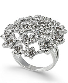I.N.C. Silver-Tone Crystal Cluster Flower Statement Ring, Created for Macy's