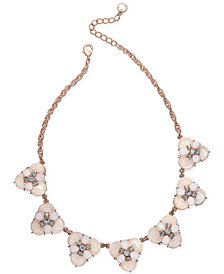 "Charter Club Rose Gold-Tone Crystal & Stone Cluster Statement Necklace, 17"" + 2"" extender, Created for Macy's"