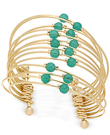 Thalia Sodi Gold-Tone Multi-Row Beaded Flex Cuff Bracelet, Created for Macy's