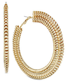 Thalia Sodi Gold-Tone Wide Chain Hoop Earrings, Created for Macy's