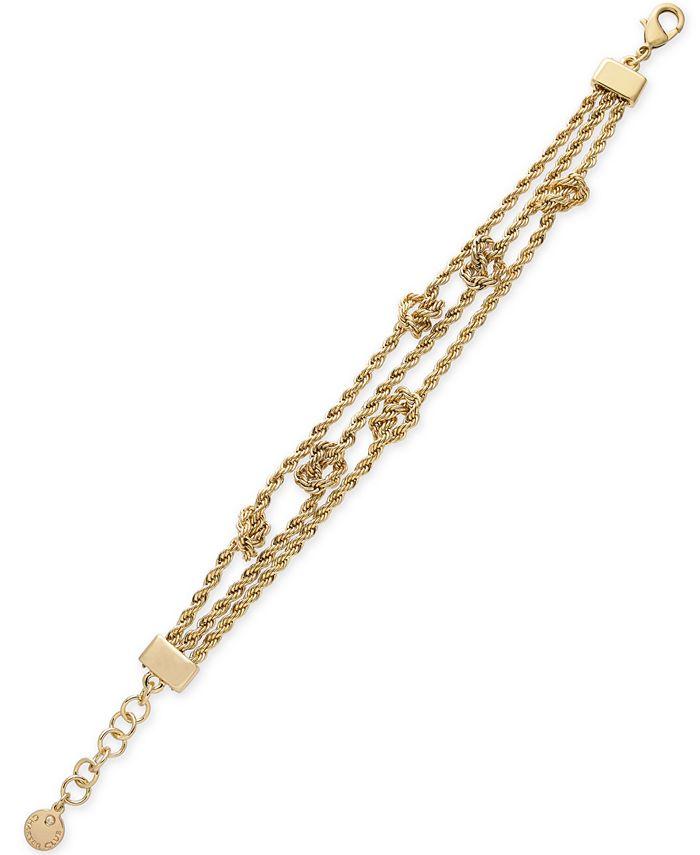 Charter Club - Gold-Tone Knot Triple-Row Link Bracelet