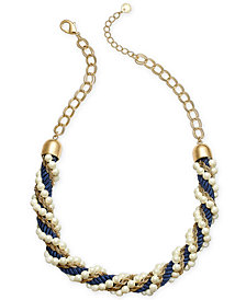 "Charter Club Gold-Tone Beaded Chain & Cord Twist Statement Necklace, 20"" + 2"" extender, Created for Macy's"