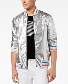 I.N.C. Men's Silver Bomber Jacket, Created for Macy's