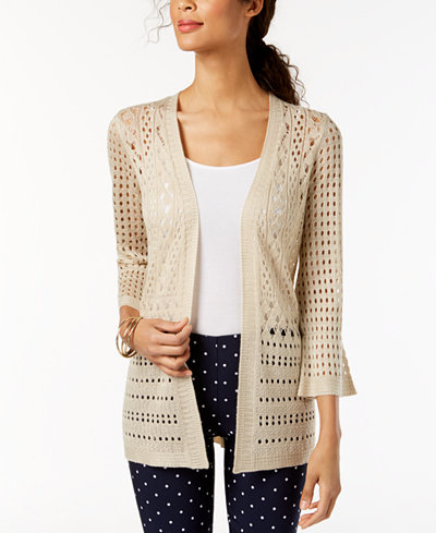 Charter Club Petite Open-Stitch Cardigan, Created for Macy's
