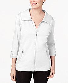 Karen Scott Zip-Front French-Terry Jacket, Created for Macy's
