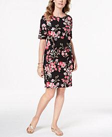 Karen Scott Floral-Print Elbow-Sleeve Dress, Created for Macy's