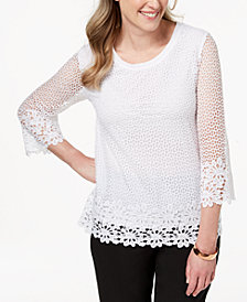 Alfred Dunner Petite Crochet Knit Tunic