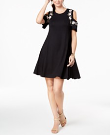 Style & Co Petite Printed Hem Cold-Shoulder Dress, Created for Macy's