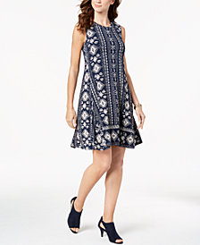 Style & Co Printed A-Line Dress, Created for Macy's
