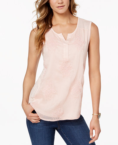 Style & Co Embroidered Tank Top, Created for Macy's