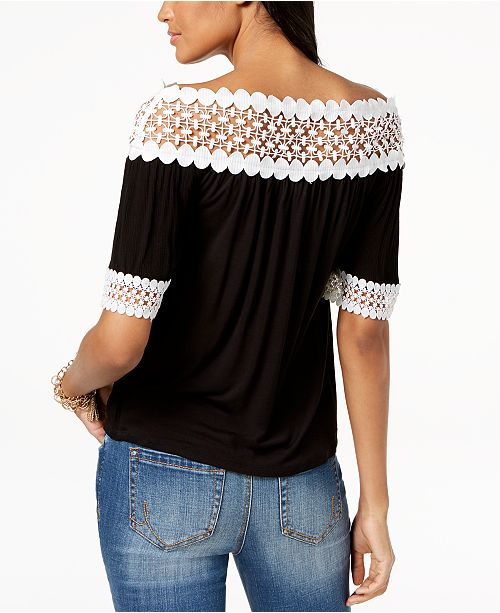 INC Black Shoulder Off Created Macy's The Concepts C Crochet Trim I N Top International for qn6O0wrzq