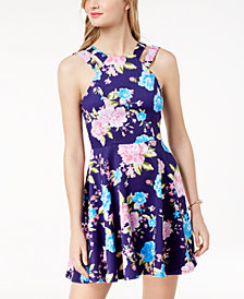 B Darlin Juniors' Printed Double-Strap Fit & Flare Dress