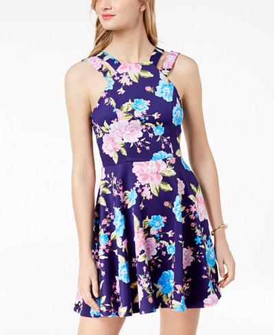 B Darlin Juniors' Printed Double-Strap Fit & Flare Dress
