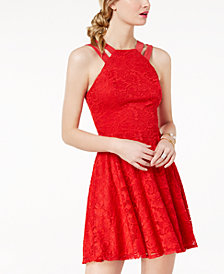 B Darlin Juniors' Lace Double-Strap Fit & Flare Dress